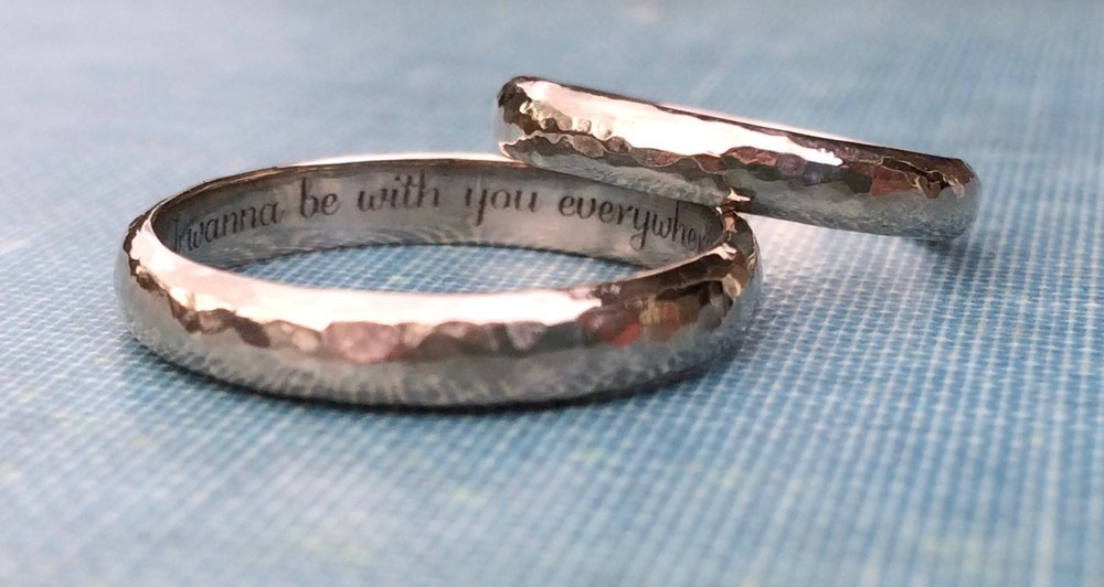 'I Wanna Be With You Everywhere' xxx Bespoke Wedding Bands for Jonathan and Lilli