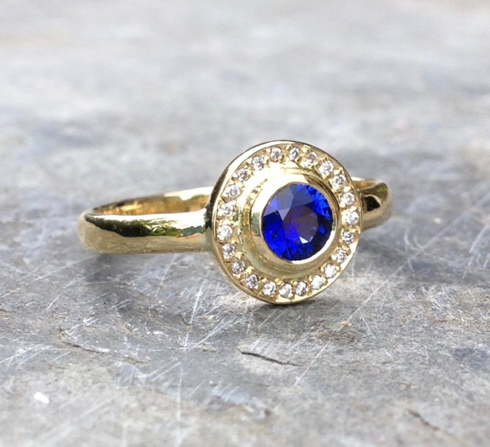 Deep Blue Sapphire and Diamond 18ct Yellow Fair Trade Gold Halo Engagement Ring