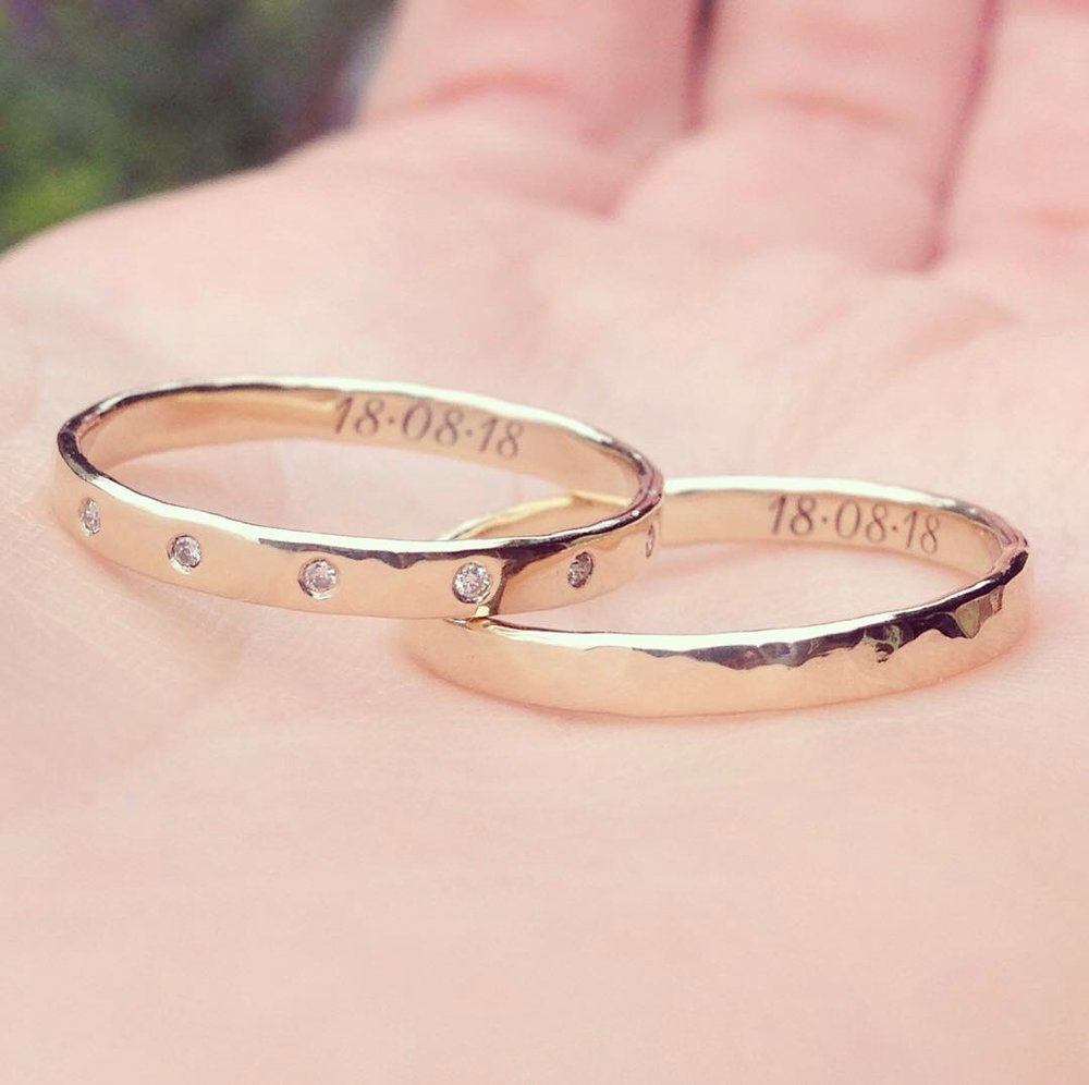 Bespoke Engagement Ring and Wedding Band Set in Recycled Gold with Canada Mark Diamonds