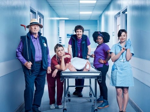 Porters Series 1   Comedy series on Dave.based in the underbelly of a hospital. Rutger Hauer plays a hospital porter with cameos from Matt Horne and Kelsey Grammar. Aired Summer 2017.