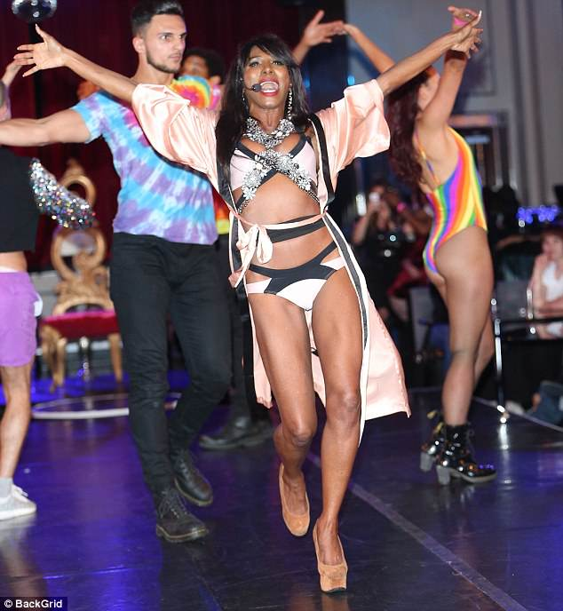 Turning heads: Sinitta made sure all eyes were on her as she debuted her new LGBT anthem Shine With Pride at The London Cabaret Club on Thursday