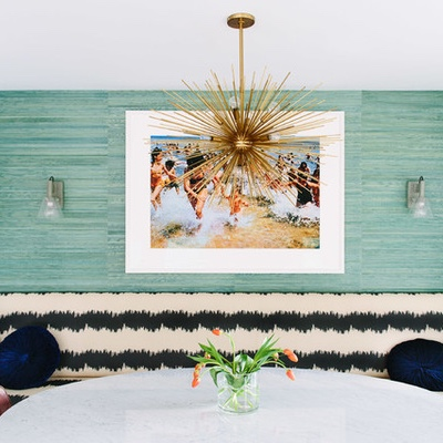 walls:  luscious aqua grasscloth livens up a casual eating space…..