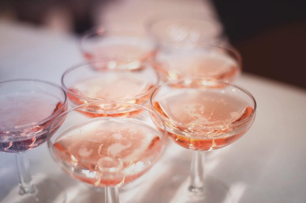 Several glasses of rosé
