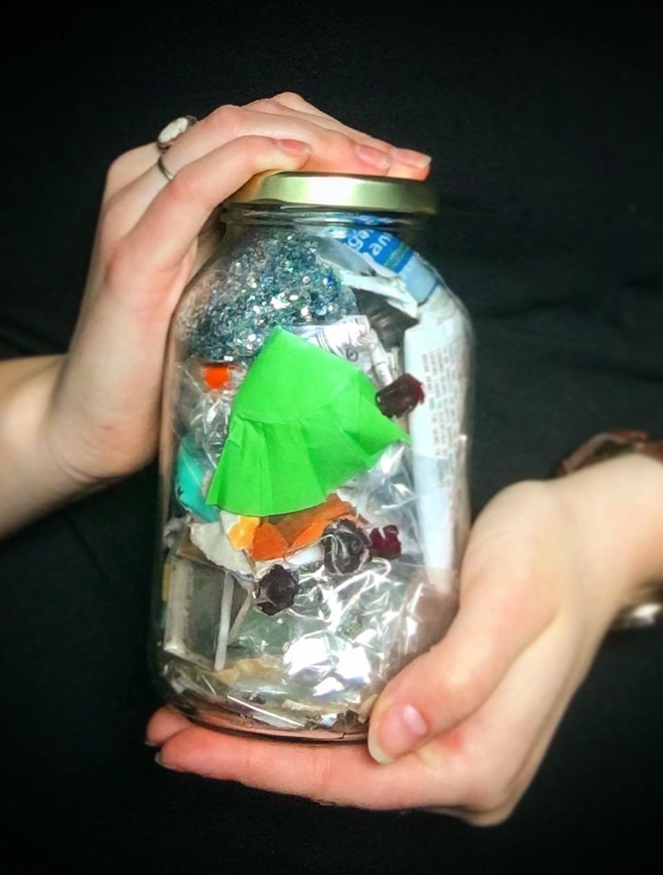 My trash jar after a few months