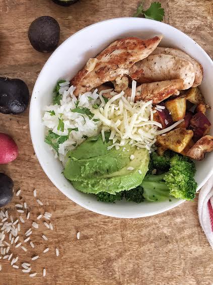 sweet potato, avocado, grilled chicken, mozzarella, broccoli, lemon juice