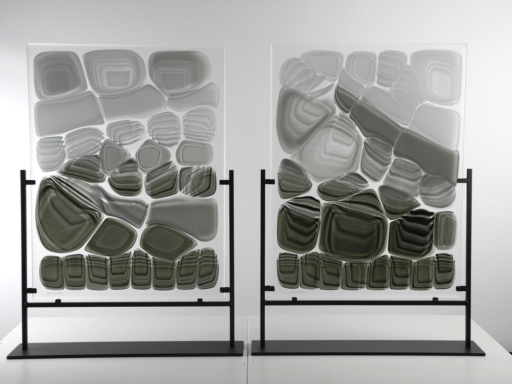 "Untitled from Strata Shift series    Fused Art Glass  25.5 "" x 16.0 "" x 4.0 ""  (each)  AKA X-ray of an imagined creature 1"