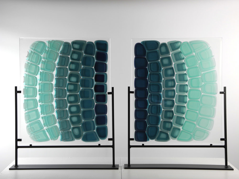 """Array"" From the Strata Shift Series    Fused Art Glass  24.5 "" x 17.0 "" x 4.0 "" (each)  AKA Leatherback Shell Pattern"