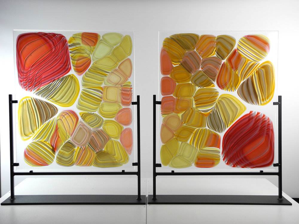 """Divide"" From the Strata Shift Series (NOT TITLE)    Fused Art Glass  24.5 "" x 17.0 "" x 4.0 ""  AKA Sliced Candy  Pattern"