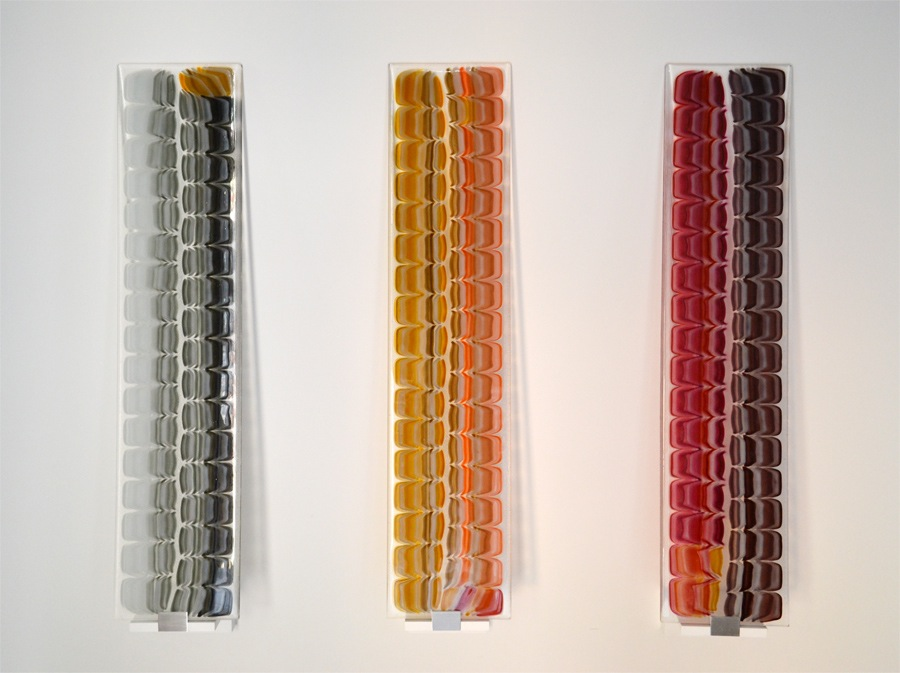 "Untitled    Fused Art Glass  8.0 "" x 36.0 "" x 0.25 ""   AKA Leatherback Shell Pattern"