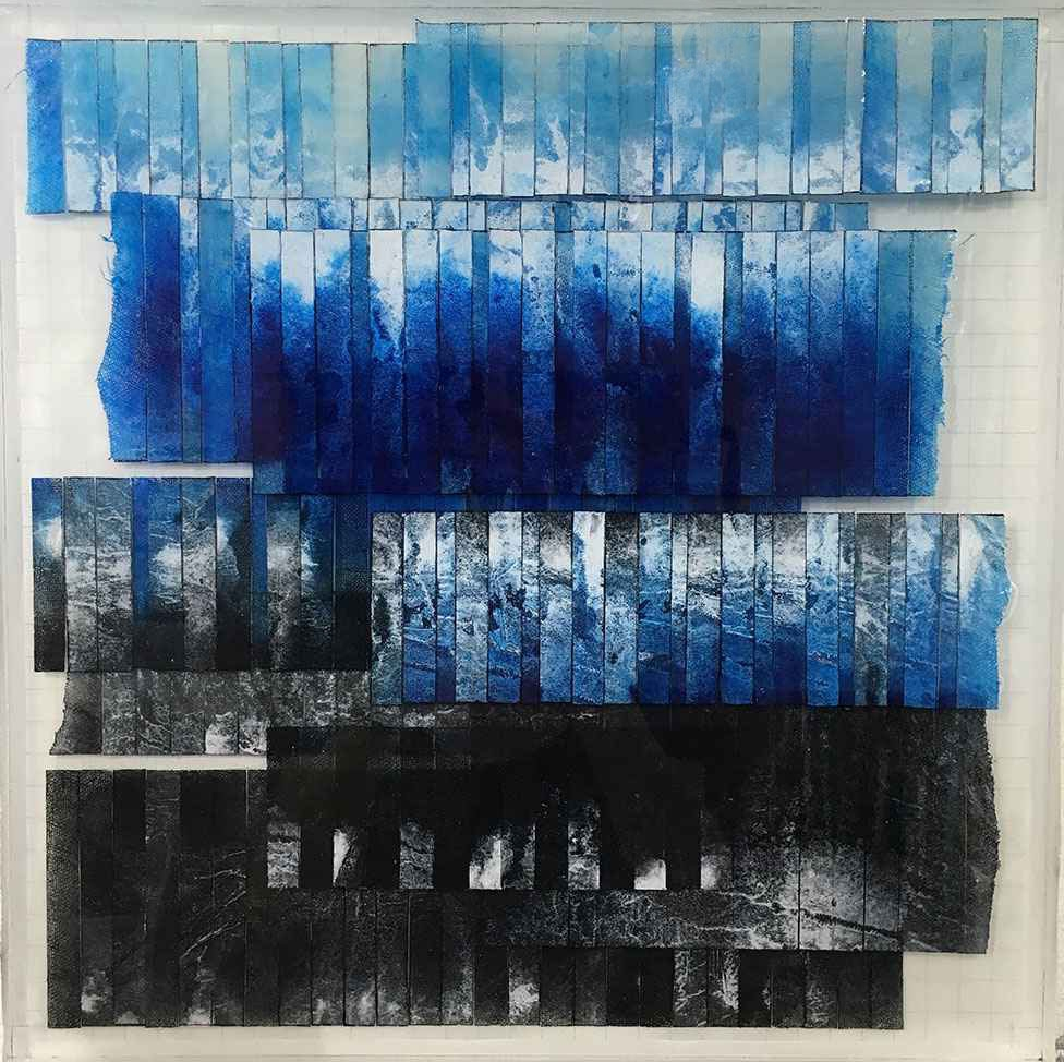 "N 41° 51' 54.192"" W 80° 47' 23.312""   ""Ashtabula""  Acrylic paint on Linen/Mixed Media/Resin Layers/Board  16.0 "" x 16.0 """