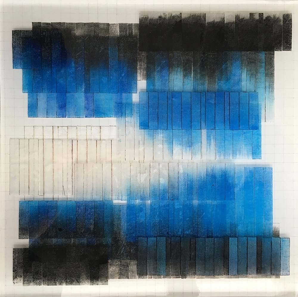"""N 44° 1' 1.955"""" W 121° 21' 36.237""""   Watercolor and acrylic paint on Linen/Mixed Media/Resin Layers/Board  16.0 """" x 16.0 """""""
