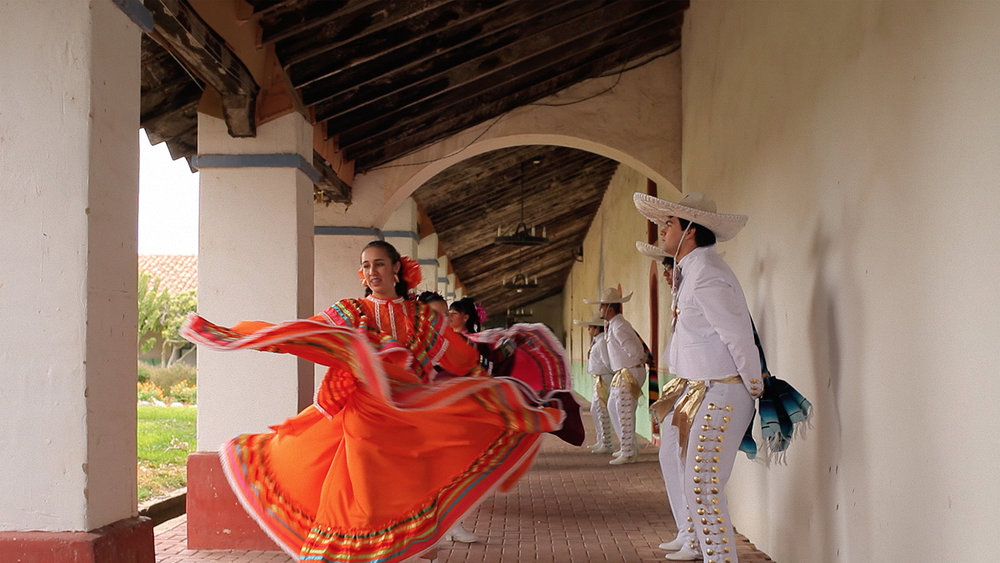 Folklorico dancers practice at the mission in the town of Anselmo. The Magic Hours - a film by Zoey Taylor and David Connelly