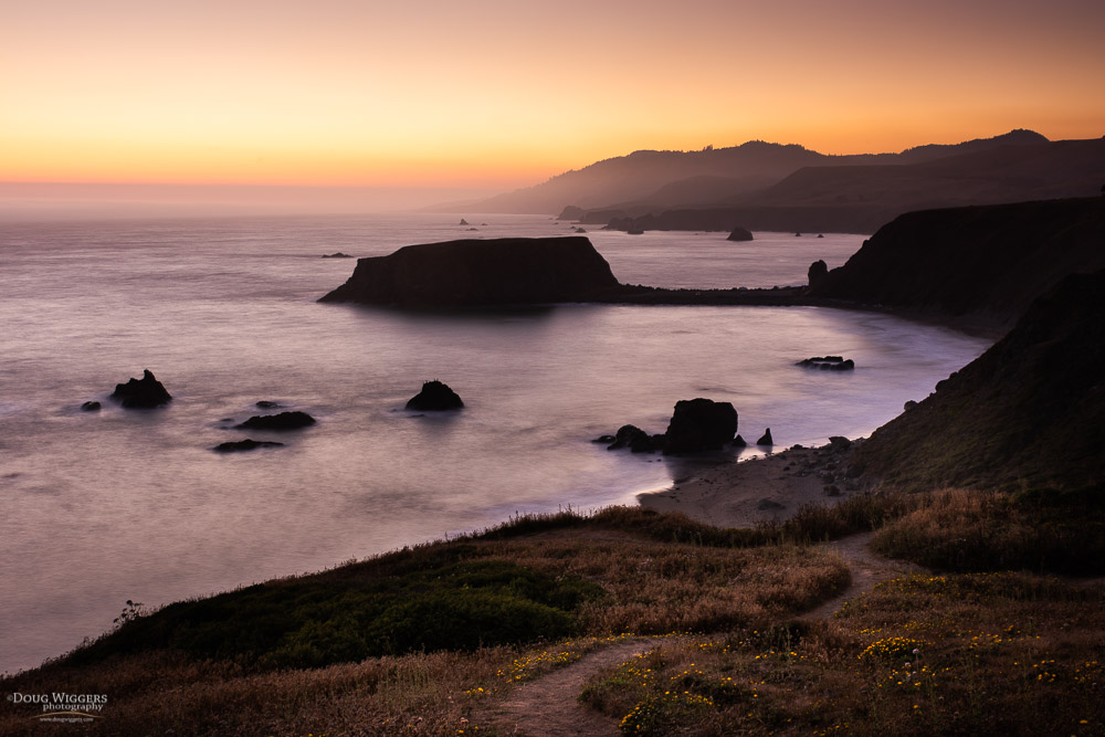 Glowing sunset at Goat Rock, Sonoma Coast State Park near Jenner, CA