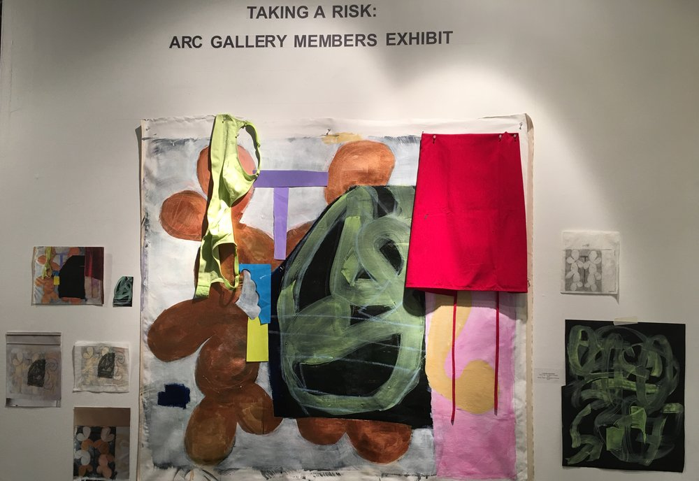 "This Is How You Make A Painting Acrylic on canvas / mixed media including artist's apron and bra 56"" x 56"" 2018, installation view, 2018."
