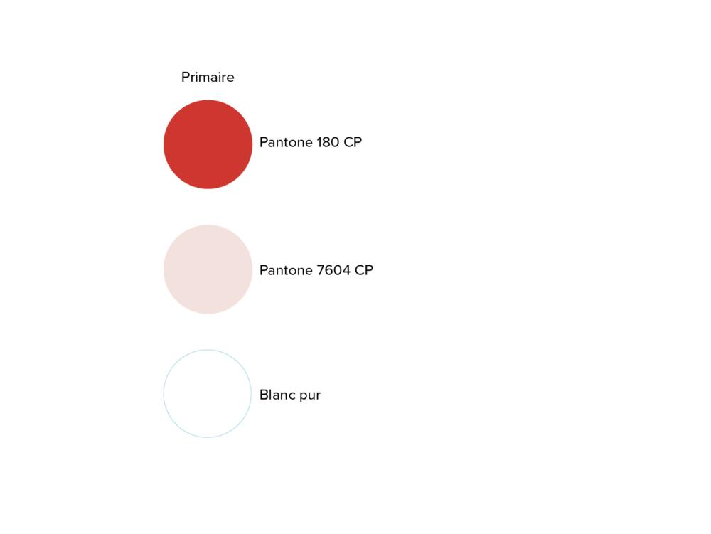Les couleurs primaires utilisées ont été sélectionnées afin de rappeler le milieu interne du corps humain (pantone 180 CP) ainsi qu'une couleur utilisée dans le milieu des illustrations afin de démontrer la peau et l'environnement cellulaire du corps humain.