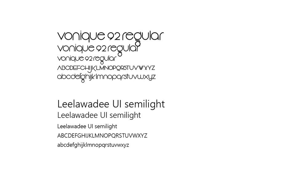 L'utilisation d'une typographie plus géométrique pour le titrage permet de rappeler la nature liquide du produit alors qu'une typographie bâton avec une largeur de chasse moyenne permet de garder un aspect propre, facile à lire, et un rappel vers les valeurs terre-à-terre de la compagnie.