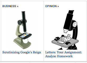 Analyze and scrutinize are synonyms. Does the  New York Times  know a visual synonym for microscope?