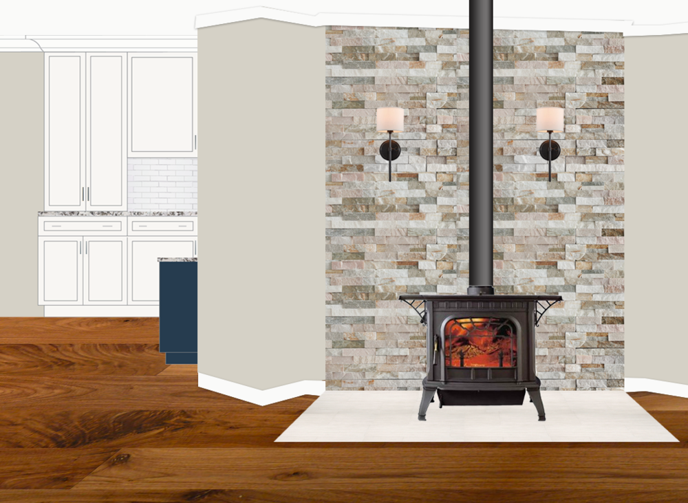 The husband had really just one big wish for this farmhouse remodel: a wood-burning stove. Done and DONE (well, in another 6 months probably). This is the mock-up rendering for his wood-burning stove corner, with a glimpse of the kitchen behind.