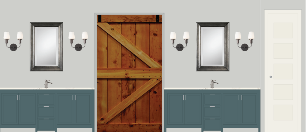 Mock-up rendering for a master bath, including a space-saving barn door. Clients are in the middle of a full remodel of an '80s farmhouse.