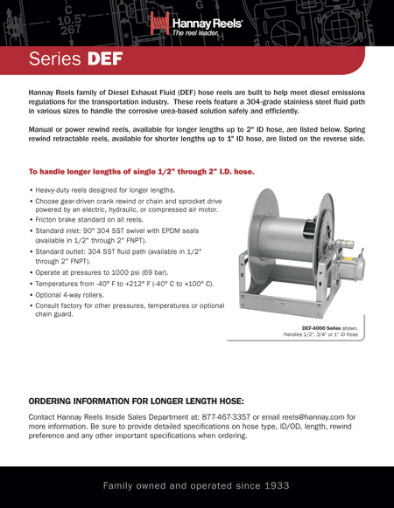 Diesel Exhaust Fluid Reels