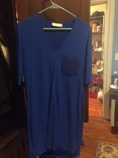 Wardrobe Possibility - Sorry so wrinkly-- this is actually a gorgeous blue dress.  Can go casual or dressy.  Might be good under the blazer...