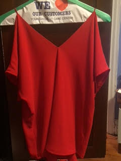 Wardrobe Possibility - This is a really pretty red.  Very loose.  Exposed shoulders.  Maybe inside theater?
