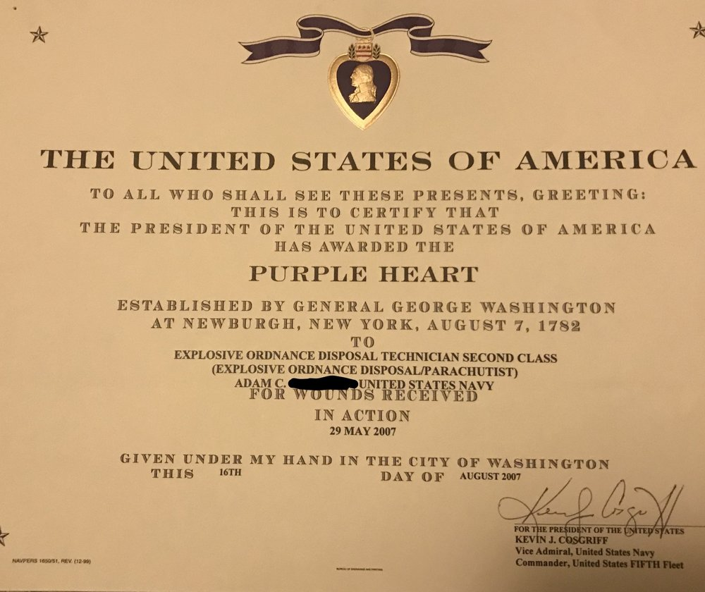 My purple heart certificate.