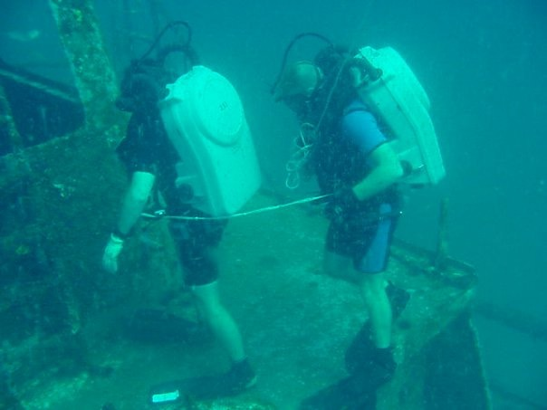A team mate and I diving MK 16 Mod 0 rebreathers on the black bart. I sunk ship off the coast of Panama City