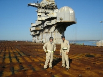 We should have taken this picture a little to the left so we could have got the boat sitting on top of the flight deck.