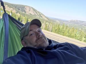 Colorado - Hanging in my hammock along side the road in my van.