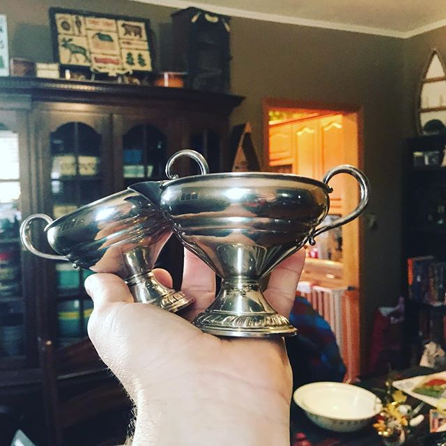 #goodwill done messed up.  #sterlingsilver sugar creamer set for $4.00.  #treasurehunting #fuckmainstream #925silver #925 #thrifting #thriftingfinds