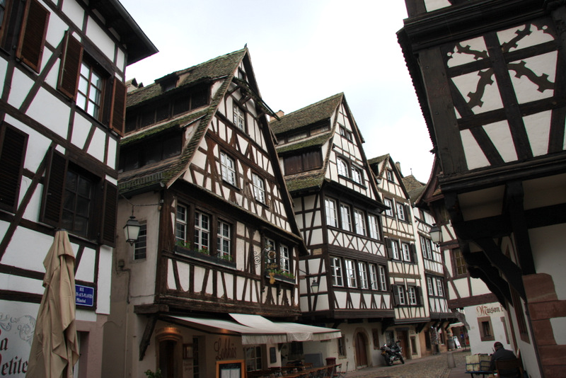 "Half-timbered houses in the ""Petite France"" section of Strasburg, France"