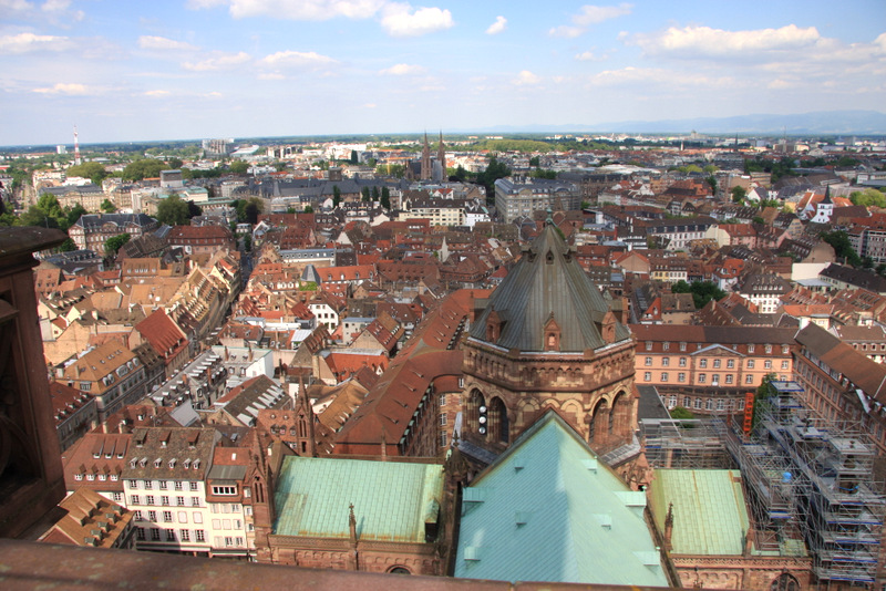 View of Strasbourg, France from the top of the cathedral