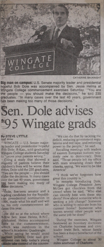 Newspaper article featuring Bob Dole's address to Wingate University Grads, Wingate, North Carolina