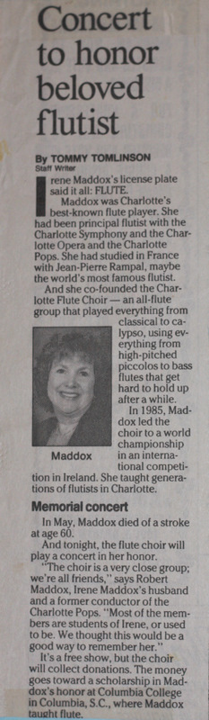 Newspaper article featuring concert given by the Charlotte Flute Choir honoring the passing of Irene Maddox
