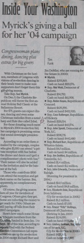 Article from newspaper featuring 2004 campaign ball given by Sue Myrick