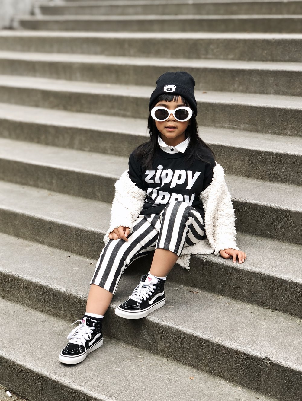 Beanie:  Kinderfolk  | Tee:  Average  | Cardigan:  Zara  | Bottoms:  Pepper Kids  | Kicks:  Vans Girls  via  Nordstrom