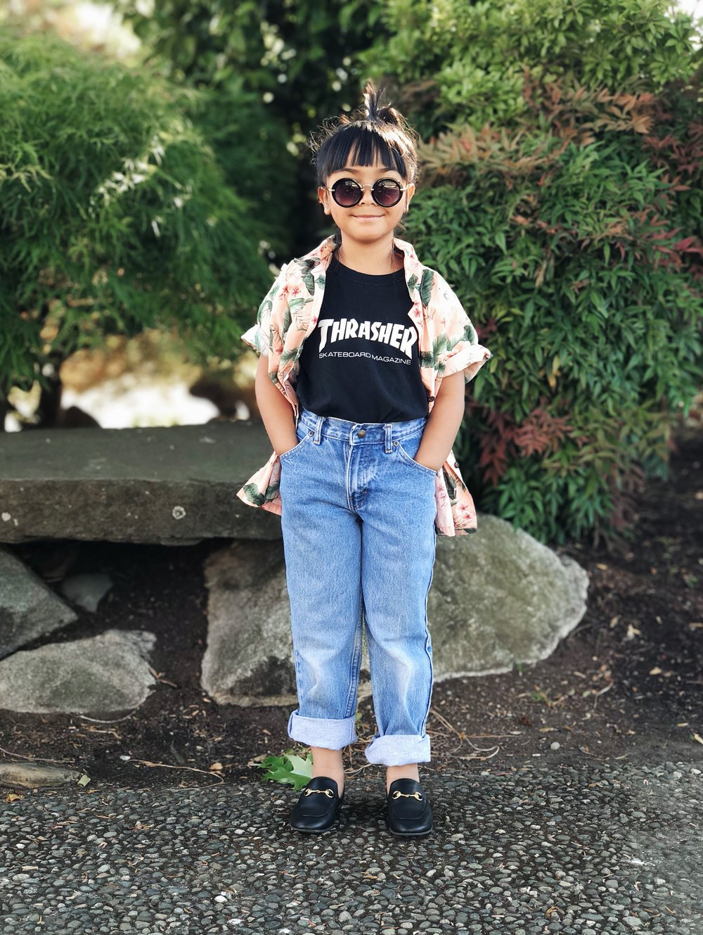 Tee:  Thrasher  | Shirt and Jeans: Thrifted from Goodwill | Shoes:  Gucci  | Sunnies:  Nordstrom