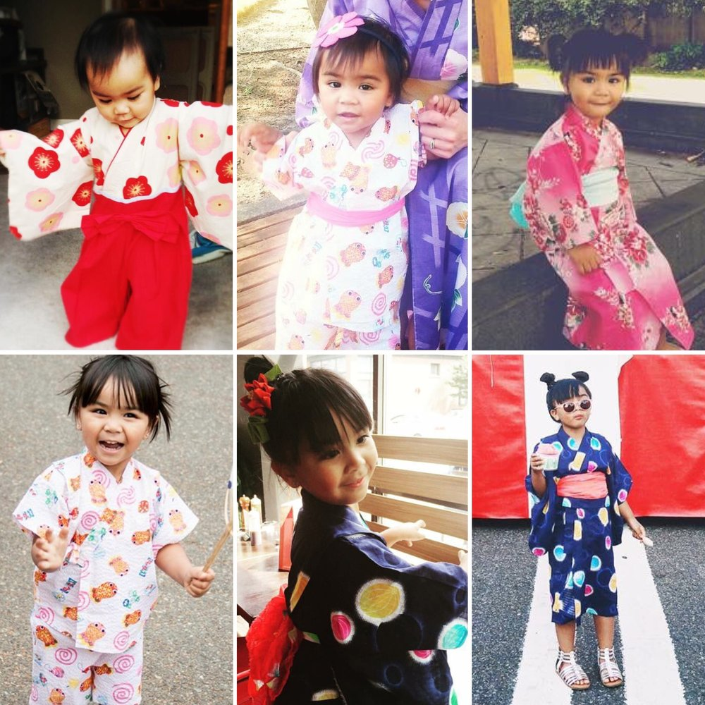 OBON THROUGH THE YEARS    Neela and her various Obon outfits;  BELOW:  GRANDPA, NEELA AND GRANDMA IN THEIR YUKATA/KIMONO WEAR