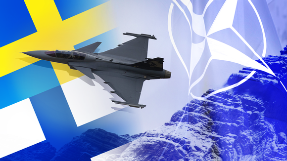 Stylized illustration of sweden and finland participating in nato exercises. image credit: yle (finnish public broadcaster).