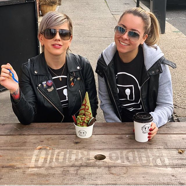 "Just a couple of #nitrospace regulars enjoying their favorite products!! What's your go to flavor? • • • • Try our flavor ""Little Green Man!"" #nitrospace #icecream #coffee #vegandessert #longisland #nyc"