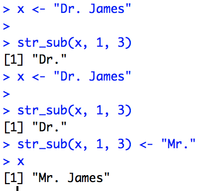 Figure 4 - str_sub(strings, start, end) extracts and replaces substrings.