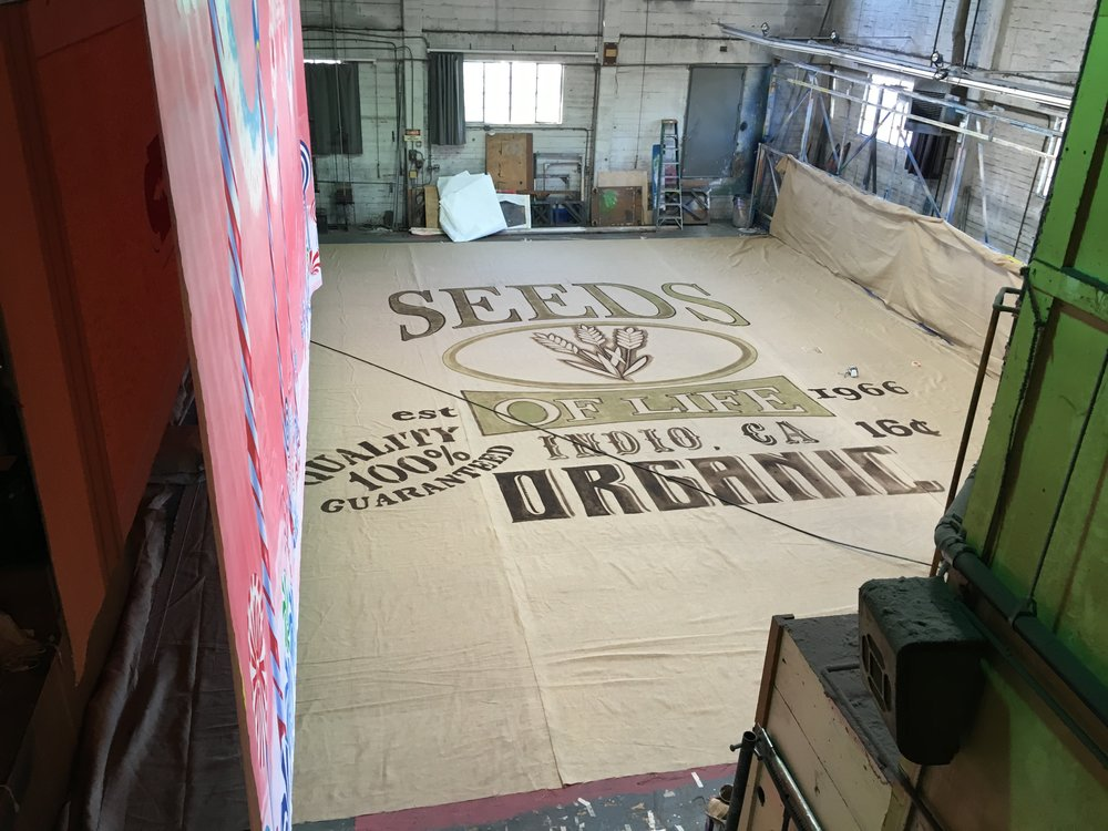 Neil Young and The Promise of the Real   40' x 60' backdrop. Hand painted on hemp burlap