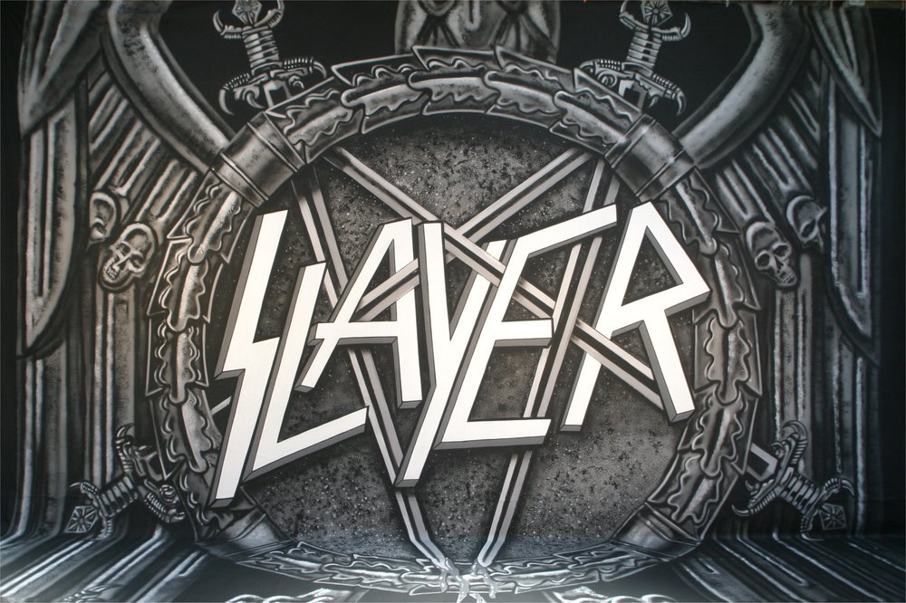 Slayer   Hand painted backdrop on dyed black muslin