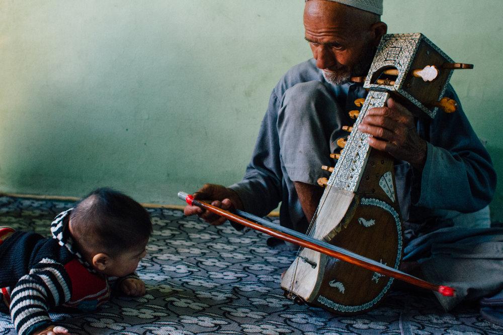 Sufi Violinist and His Grandson, Kashmir