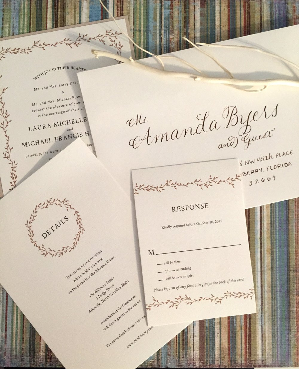 A beautiful invitation suite with envelopes lettered in a chocolate brown ink to match