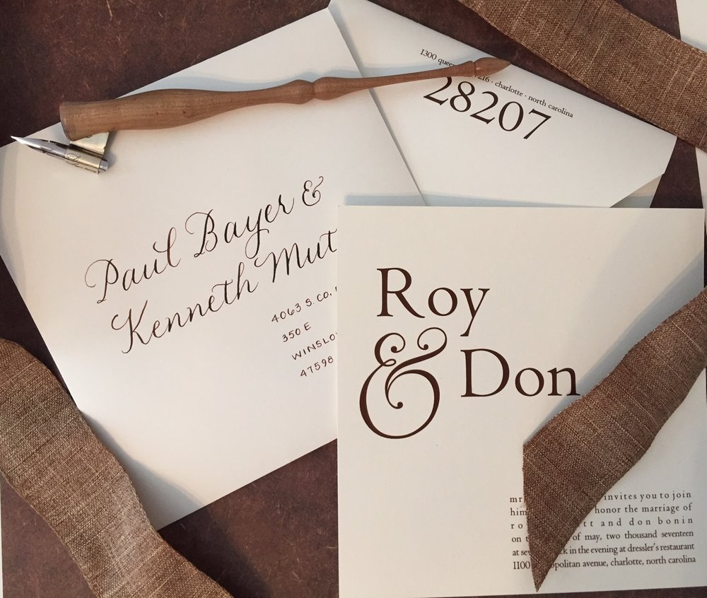 Mixed lettering style to match the invitations in chocolate brown ink