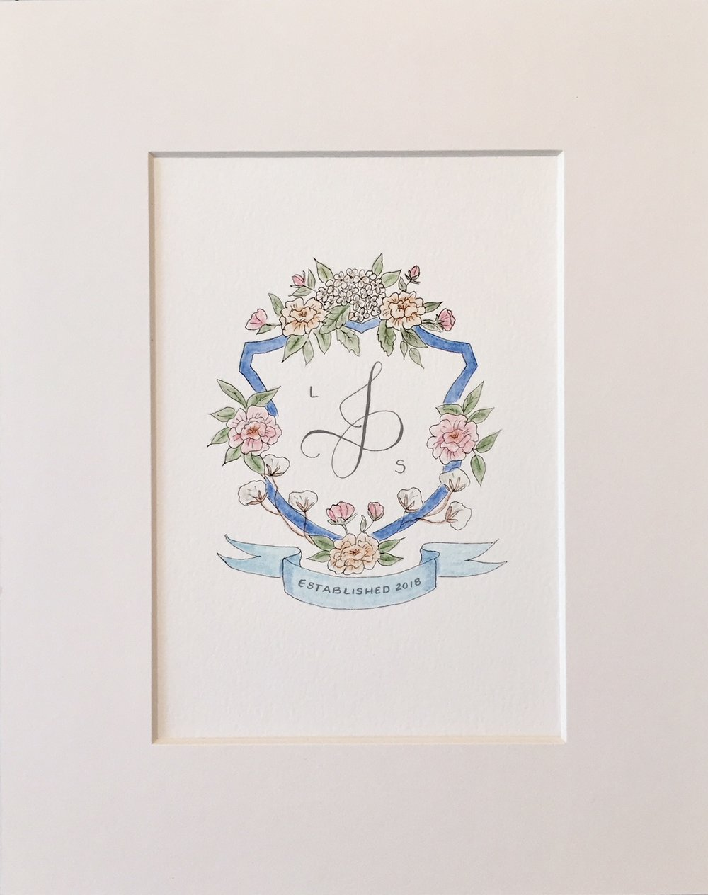 Custom watercolor family crest