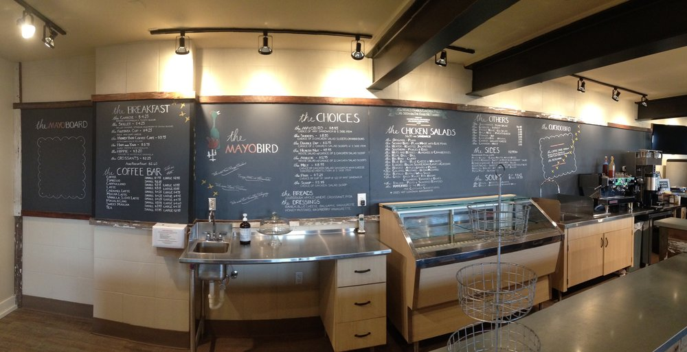 Chalkboard menu at Mayobird on East Blvd. in Charlotte.  All 29 linear feet!!