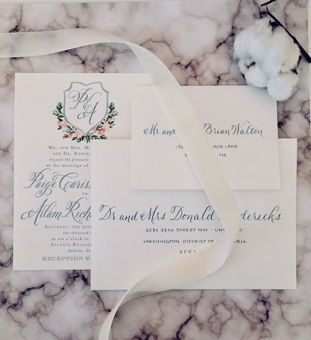 A beautiful invitation suite with custom ink and matching style to complement printed font